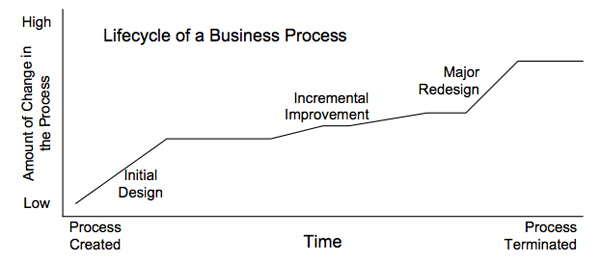 Figure 1.  The lifecycle of a process with periods of basic redesign and long periods on incremental improvement.  (Modified from a Figure originally used by Michael Hammer.)